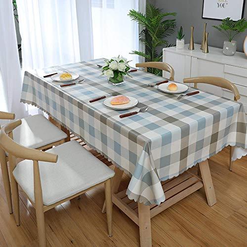 Kuingbhn Mantel Mesa Rectangular Antimanchas Impermeable Cubremesa Resistente Al Desgaste Anti Escaldado para de Hogar Picnic del Hotel Tienda de Café Gris Blanco Azul 120×120cm