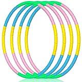 2Buyshop 4 Pack Hoola Hoops Kids, Detachable Weighted Hoola Hoop Toys for Kids Size Adjustable Hula Hoop Kids...