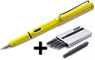 Lamy Safari Fountain Pen (14M) Yellow & 5 Black Ink Cartridges