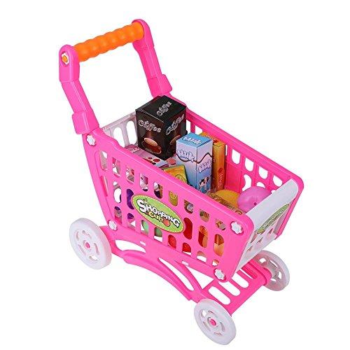 Carrello della Spesa per Bambini Giocattoli preziosi Giocattoli per Bambini Gioco di Ruolo Giochi Alimentari con generi Alimentari (Rosy Red with Food)