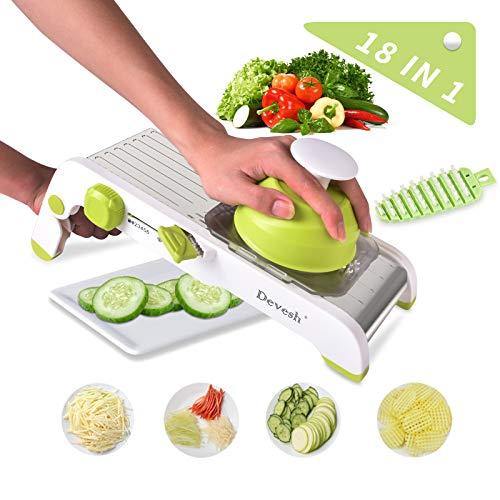 Mandoline Slicer Vegetables ChopperAll In One Adjustable vegetable Slicer Stainless Steel Manual Cutter Vegetable Grater Julienne Slicer Fruit Waffle Graters for Kitchen Onion Potato Slicer
