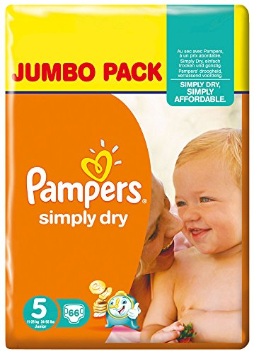 Pampers - Simply dry midi 11 - 25kg, pack de 2 (2 x 66 unidades)