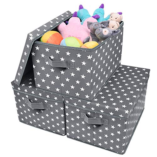 GRANNY SAYS Extra Large Storage Bins with Lids, Fabric Storage Boxes for Shelf, Stackable Closet Bins for Toys & Kids