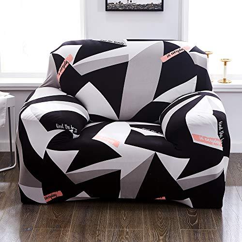 Souarts Sofabezug elastische Stretch Sofaüberwurf Sofa Couch Sessel Husse Bezug Decke Sofabezüge 1/2/3/4 Sitzer (1 Sitzer, Schwarz Weiss)