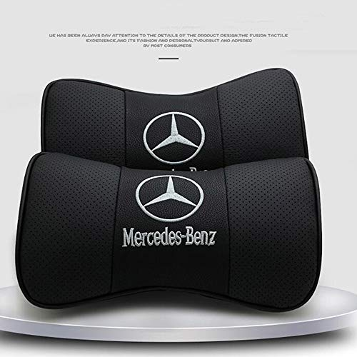 2 PCS Car Neck Pillow Mercedes-Benz, for Mercedes-Benz,Breathable Auto Head Neck Rest Cushion Relax Neck Support Headrest Comfortable Soft Pillows for Travel Car Seat & Home (Black)