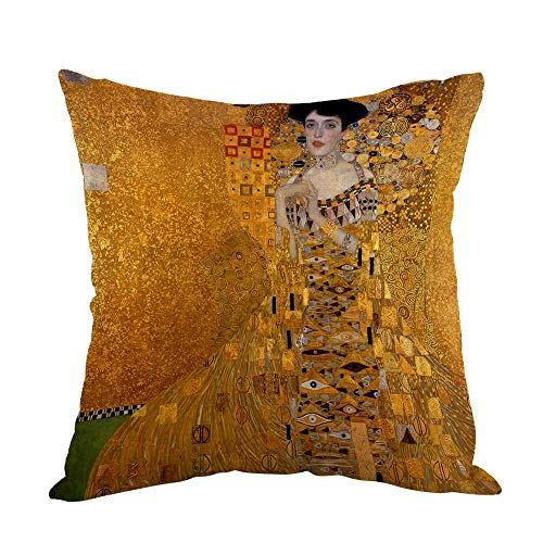 LongTrade 18x18inch Gustav Klimts The Lady In Gold Pillow,Home Decor Throw Pillow Cover Cotton Linen Cushion for Couch Sofa Bedroom Livingroom Kitchen Car Square Pillow case Kissenbezug