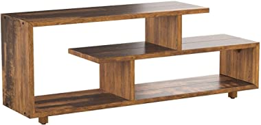 Walker Edison Meier Contemporary 2 Tier Asymmetrical Solid Wood TV Stand for TVs up to 50 Inches, 60 Inch, Amber