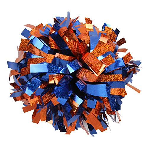 Cheerleading Pom Poms Metalic Holographic Cheerleader with Baton Handle 6 inch 1 Pair 2 Pieces (Orange/Royal blue)