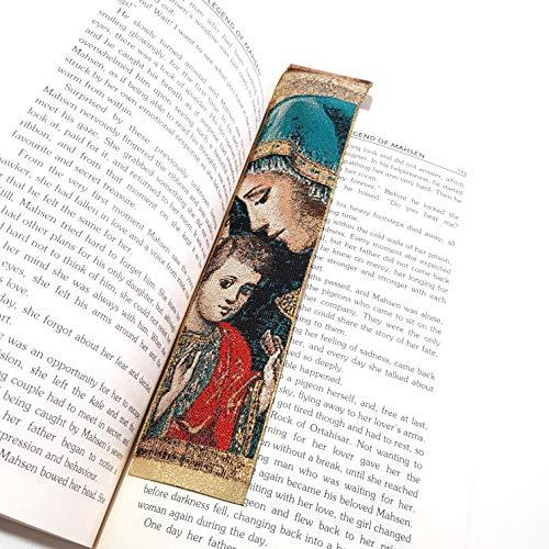 Segnalibro in tessuto con scritta 'Madonna e Bambino' di Bahar OYA