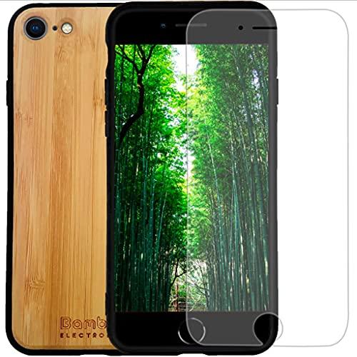 Bamboo Electronics Coque iPhone en Bois de Bambou pour iPhone SE2020/8/7/6/6s + Protection d'écran en Verre trempé + Support de téléphone, Emballage 0 Plastique