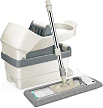 JUAN Stainless Steel Deluxe Rolling Spin Mop with 3 Microfiber Mop Heads,Pedal Design Washing Dehydration Two In One Dry a...