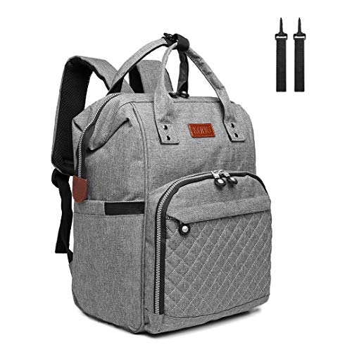 Kono Baby Changing Backpack Bag Multi-Function Large Capacity Travel Diaper Rucksack Nappy Back Pack with 2 Stroller Straps 16.8L (Grey)