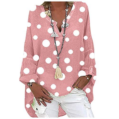 Yowablo Hemd Bluse Top Frauen Plus Size Lässig Langarm Polka Dot Print Lose V-Ausschnitt (XXL,3Rosa)