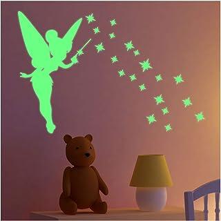 Stickers adhésifs Phosphorescent | Sticker Autocollant Lumineux fée et étoiles - Décoration Murale Fluorescente | 40 x 25 cm