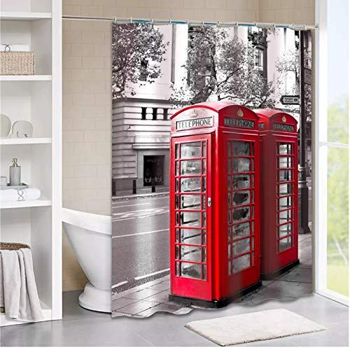 Cabina de teléfono rojo Londres Street Scenery Big Ben City Landmark Decoración de baño