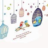 Obanban Niña Dormitorio Habitación De Dibujos Animados Jaula De Pájaros Dormitorio Salón De Pared De La Pegatinas De Pegatinas Decorativas Decoración De Desmontable El Arte