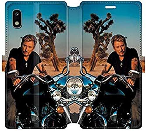 Cokitec RV - Funda de Piel con Tapa para Samsung Galaxy A10 Johnny Hallyday Moto