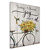 Sunflower Hummingbird Wall Art Today I Choose Joy Canvas Sunflower Bicycle Inspirational Quote Giclee Matte Prints Home Decor For Kitchen Bedroom Living Room Bathroom 8x10 Inch