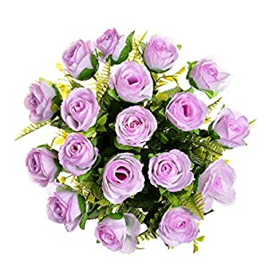Premium Artificial Flowers Fake Silk Roses Bouquet for Home Table Hotel Wedding Indoor Outside Garden Décor (Lilac)