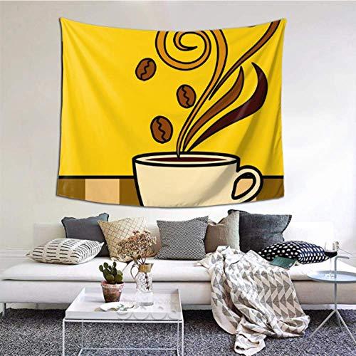 XiexHOME Wandteppich hängen köstlichen Kaffee und Kaffeetasse Wand zum Aufhängen 60x51 Zoll (152x130cm) Wandbehang Kunst Home Decor Polyester für Wohnzimmer Schlafzimmer Wohnheim