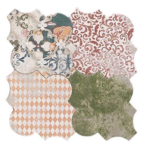 Casa Moro Marokkanische Fliesen Risha Patchwork 45x45 cm 1m² mit Arabesque Form Betonoptik | Orientalische Keramikfliesen für Boden & Wand | FL2130
