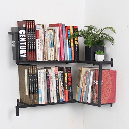 JPVGIA Parete in Ferro pensile Creativo, angolare Nero Camera da Letto Bezel, libreria Soggiorno Decorazione 60cm * 43cm * 54cm