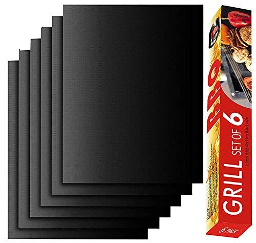 Airbin BBQ Grillmatte, 6er Set Grillmatte Backmatte für Holzkohle- Gas- oder Elektrogrill - Hitzebeständig, Pflegeleicht und Wiederverwendbar,Non Stick, FDA Zulässig, 40 x 33