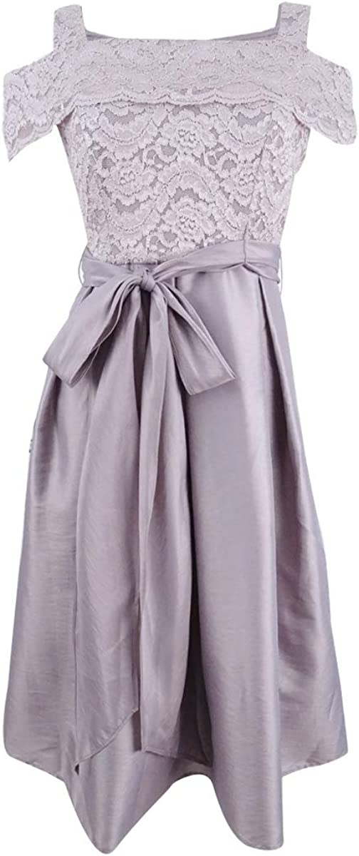 R&M Richards Petite Cold-Shoulder Fit & Flare Dress