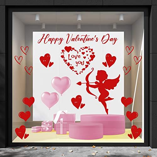 Cristal de San Valentín - Dimensiones 58 x 45 cm - Love corazones y cúpido - temas y fantasía San Valentín - Decoración vitrina para tiendas, love- - Ideal para San Valentín