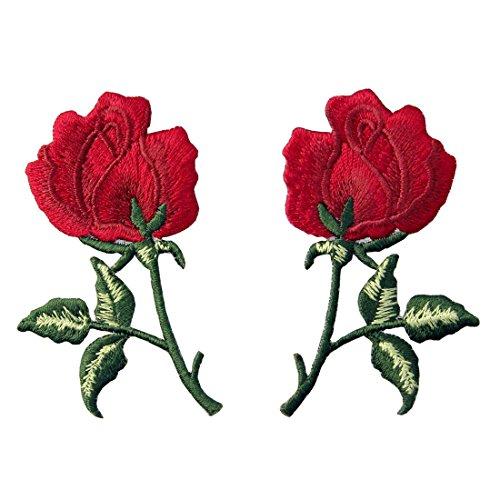 ZEGIN Aufnäher, Bestickt, Design: Retro Blumen Boho Rote Rose, zum Aufbügeln oder Aufnähen