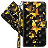 MRSTER Nokia 5.1 Plus Handytasche, Leder Schutzhülle Brieftasche Hülle Flip Hülle 3D Muster Cover mit Kartenfach Magnet Tasche Handyhüllen für Nokia 5.1 Plus 2018. YX 3D - Golden Butterfly