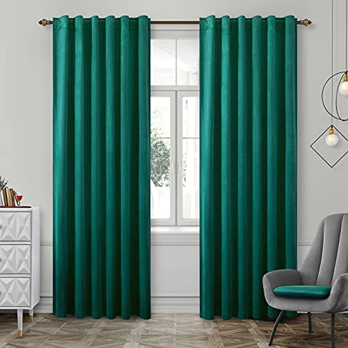 HOMEIDEAS Velvet Curtains Teal Blackout Curtains 52 X 84 Inches, 2 Panels Soft and Luxury Thick Darkening Curtains/Drapes, Thermal Insulated Pocket Back Tab Window Curtains for Living Room