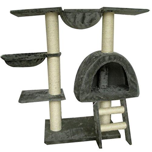 Tidyard Árbol Rascador para Gatos Poste rascador para Gatos, 5# Gris Felpa Torre De Gato Gimnasio 105cm