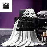 HAOTTP Blanket Is Super Soft Movie Theater Throw Ilustración Realista De Un Símbolo De Claqueta para La Industria del Cine Y El Video 130X150Cm