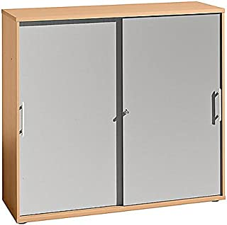 FINO Armoire à portes coulissantes - 2 tablettes et 1 paroi médiane par comp, h x l x p 1100 x 1200 x 400 mm - façon hêtr...