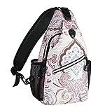 MOSISO Sling Backpack,Travel Hiking Daypack Pattern Rope Crossbody Shoulder Bag, National Style