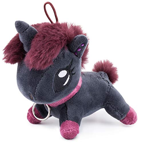 corimori - Ruby el Unicornio Punk Mini Llavero de Peluche, niño niña, 10cm, Negro