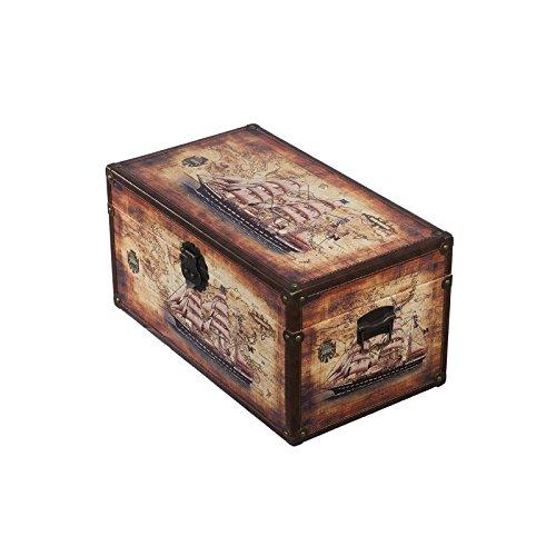 Truhe Kiste SJ 12191 Maritim, Schiff, Segelschiff, Holztruhe mit Leder bezogen, Vintage, 49x28x25cm - 2