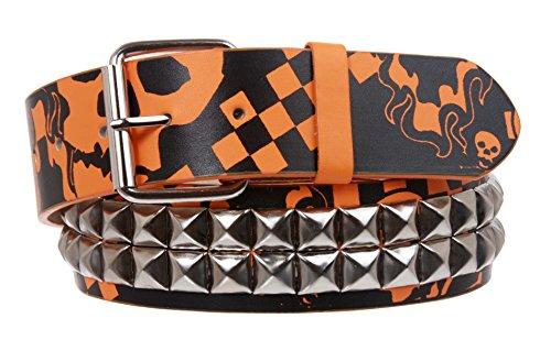 Cinturón de piel con tachuelas de calavera y hueso con estampado punk rock, estrella plateada, con tachuelas - Naranja - Large/X-Large - 40