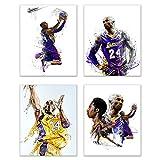 Kobe Bryant Aquarell-Wand-Kunstdruck, Set mit 4 Postern