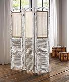 Dekoleidenschaft Paravent aus Holz, weiß im Shabby Look, mit Vorhängen, Raumteiler, Spanische Wand