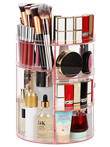 Syntus 360 Rotating Makeup Organizer, DIY Adjustable Bathroom Makeup Carousel Spinning Holder Rack, Large Capacity Cosmetics Storage Box Vanity Shelf Countertop, Fits Makeup Brushes, Lipsticks, Pink