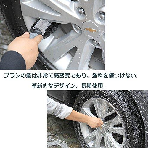 タイヤブラシ、ホイールリムハブ用ブラシ洗車ブラシ洗車傷防止ホイールブラシ2枚
