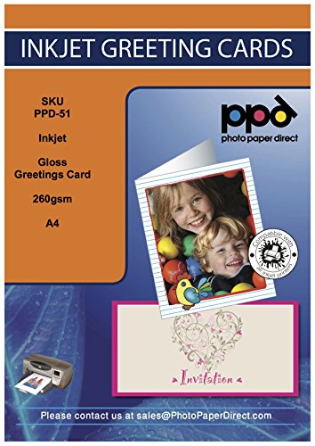"""PPD Inkjet Large Glossy Printable Greeting Cards LTR 8.5 x 11"""" folding to 5.5 x 8.5"""" 64lbs. 240gsm 10.9mil With Envelopes x 20 Sheets (PPD051-ENV-20)"""