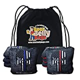 Beer Belly Bags Cornhole - Competitive Series 8 Bags Resin Filled - Double Sided - Sticky Side | Slick Side - Basketweave (Red/Blue Skulls)