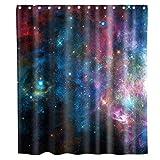N\A Cortina de Ducha del Espacio Exterior Galaxy Nebula Star Tela de Tela Niños Baño Decoración Set con Ganchos Impermeable Lavable