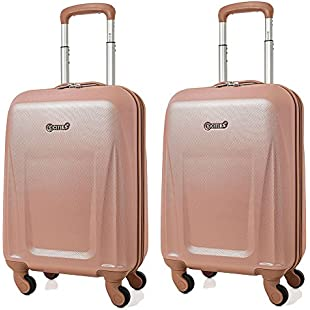 5 Cities Lightweight ABS Hard Shell Carry On Cabin Hand Luggage Suitcase with 4 Wheels, Approved for Ryanair, easyJet, British Airways, Virgin Atlantic and More (2 x Rose Gold)