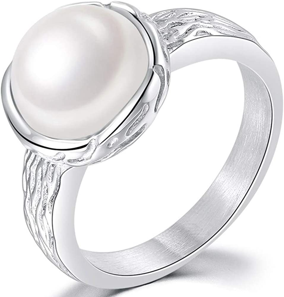 Jude Jewelers Stainless Steel Hammered 12mm Faux Pearl Wedding Engagement Proposal Solitaire Ring