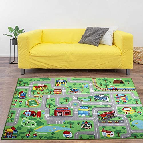 Yincimar Kids Carpet Playmat Rug 6 6x5 0 ft Extra Large City Life Carpet Learning Exercise Mat product image
