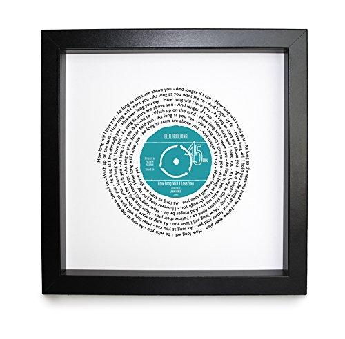 Ellie Goulding, wie lange wird ich liebe sie, Vinyl Record Print   personalisierbar Lied   Vinyl Record Lied Words Print   23x 23cm Box schwarz Rahmen